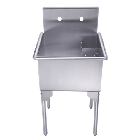 "Whitehaus WHLS2020-NP 20"" Brushed Stainless Steel Freestanding Utility Sink - The Modern Farmhouse"
