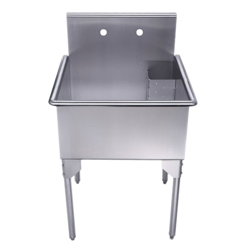 "Whitehaus WHLS2424-NP 24"" Brushed Stainless Steel Freestanding Utility Sink - The Modern Farmhouse"