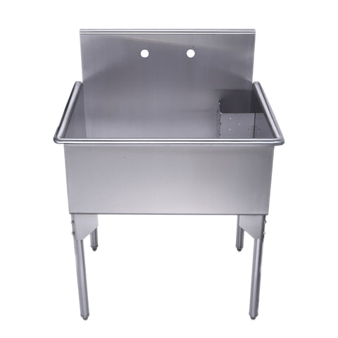 "Whitehaus WHLS3024-NP 30"" Brushed Stainless Steel Freestanding Utility Sink - The Modern Farmhouse"