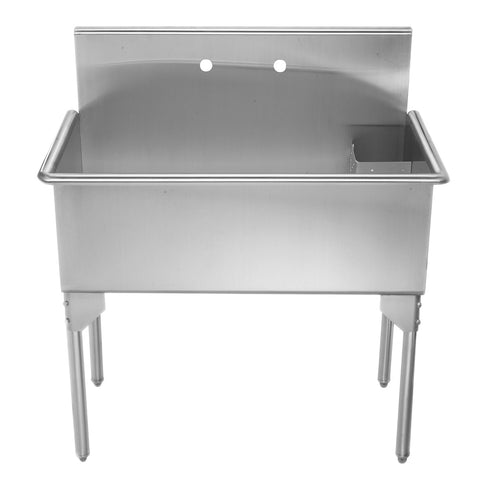 "Whitehaus WHLS3618-NP 36"" Brushed Stainless Steel Freestanding Utility Sink - The Modern Farmhouse"