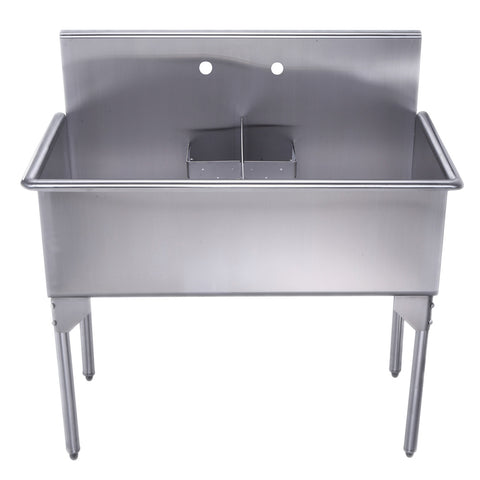 "Whitehaus WHLSDB4020-NP 40"" Brushed Stainless Steel Two Bowl Utility Sink - The Modern Farmhouse"