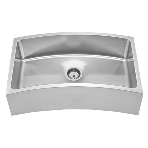 Whitehaus WHNAPCV3218 Stainless Steel 32'' Single Curve Apron Kitchen Sink - The Modern Farmhouse