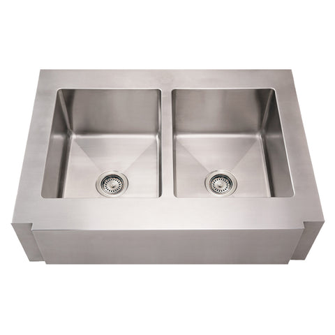 Whitehaus WHNCMAP3621EQ Stainless Steel 36'' Double Apron Kitchen Sink - The Modern Farmhouse