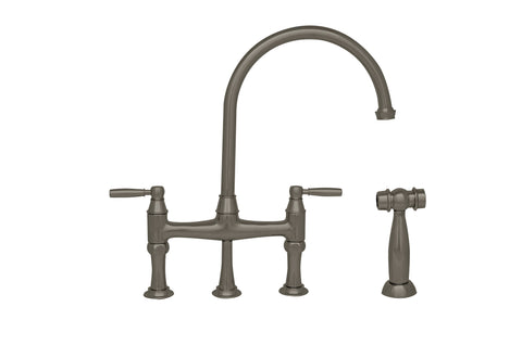 Whitehaus WHQNB-34663 Bridge Faucet With Gooseneck Spout and side spray - The Modern Farmhouse