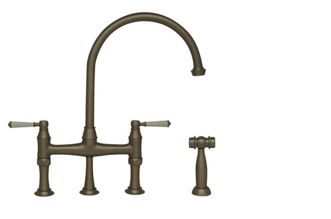 Whitehaus WHQNBP-34663 Queenhaus Bridge Kitchen Faucet with Side Spray - The Modern Farmhouse
