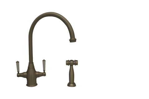 Whitehaus WHQNP-34650 Queenhaus Dual Handle Faucet with Side Spray - The Modern Farmhouse