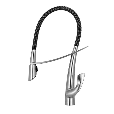 Whitehaus WHS1455-SK-BSS Swanhaus Single Hole Pull Down Kitchen Faucet - The Modern Farmhouse