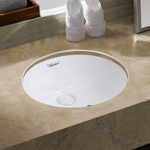 Whitehaus WHU71003 18 Inch Oval Basin With Overflow And Rear Center Drain - The Modern Farmhouse