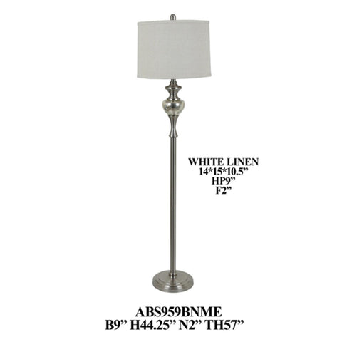 Crestview Collection ABS959BNME Metal Glass Floor Lamp , 57x9 - The Modern Farmhouse