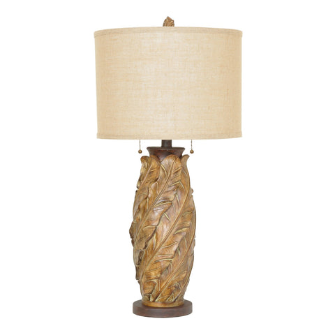 "Crestview Collection CVAVP506 Resin Tobacco Finish Banana Leaf Table Lamp , 35""H - The Modern Farmhouse"