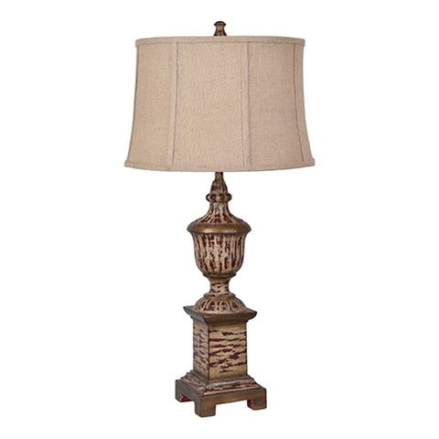 "Crestview Collection CVAVP517B Resin Antique Wood Finish French Heritage Table Lamp , 34""H - The Modern Farmhouse"