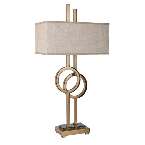 "Crestview Collection CVAZER022 Metal & Marble Soft Brass & Marble Finish Vinny Table Lamp , 34""H - The Modern Farmhouse"