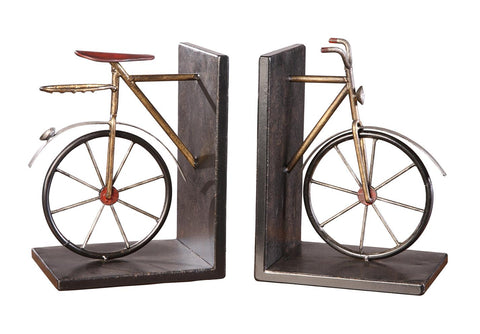 "Crestview Collection CVBB2P152 Antiqued Metal Finish Bicycle Pair Book Ends,  8""Ht. x 5 x 6 - The Modern Farmhouse"