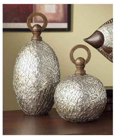 Crestview Collection CVDDP888 Antique Silver Tinsdale Vases, Set Of 2 , - The Modern Farmhouse