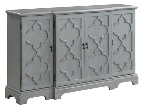 Crestview Collection CVFZR3698 Bennington 4 Door Breakfront Grey Sideboard , 36x14x60 - The Modern Farmhouse