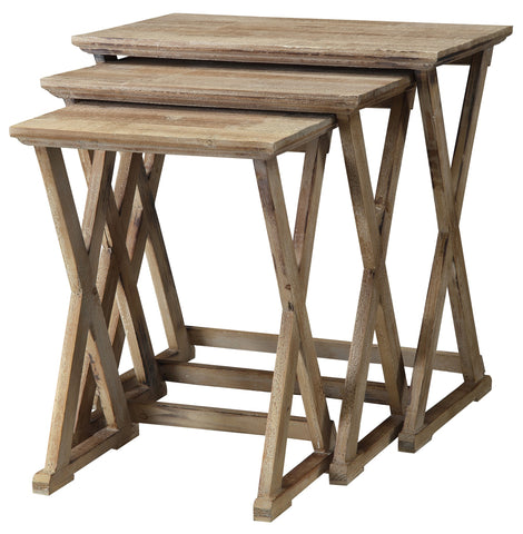 Crestview Collection CVFZR882 Cheyenne Nested Wood & MDF Tables , 24x15x23 - The Modern Farmhouse