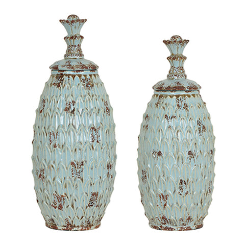 "Crestview Collection CVJDP816 Antique Blue Finish Skyler Vases ,Set Of 2 , 8 x 8 x 21"" - The Modern Farmhouse"