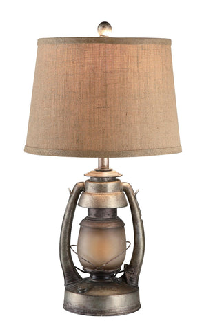 Crestview Collection CIAUP530 Oil Lantern Table Lamp W/Night Light, Antique Silver - The Modern Farmhouse