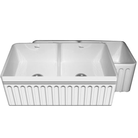 Whitehaus WHFLQ3318 Quatro Alcove Double Bowl Reversible Fireclay Sink - The Modern Farmhouse