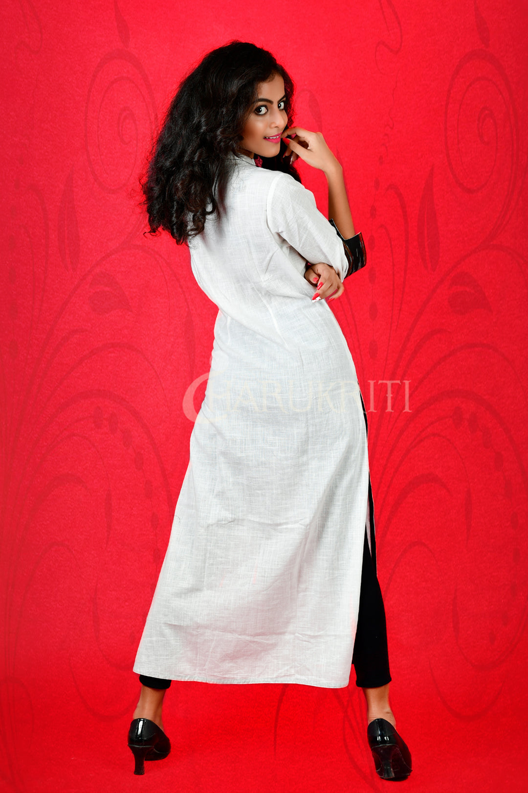 WHITE COTTON KURTI WITH SIDE PANEL