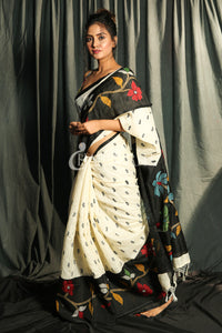 OFF-WHITE BLENDED MATKA WITH EMBROIDERY & BLACK BORDER AND PALLU