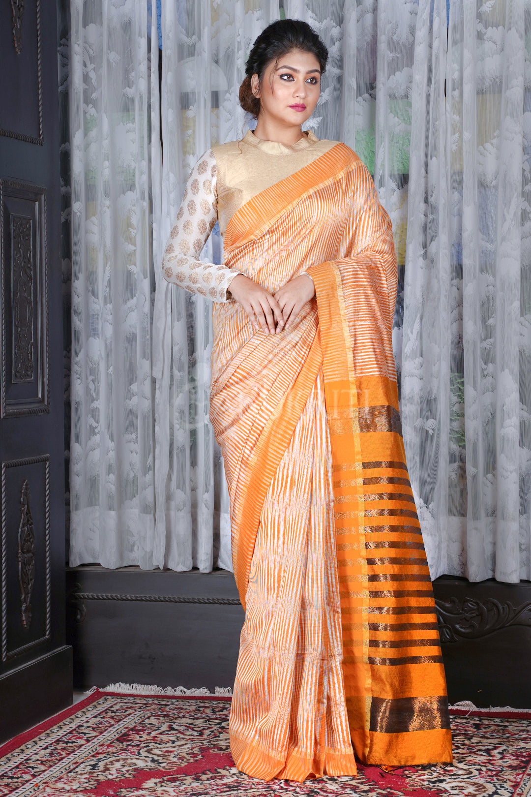 STEEL AND MUSTARD IKKAT TEXTURED SAREE WITH ZARI PALLU