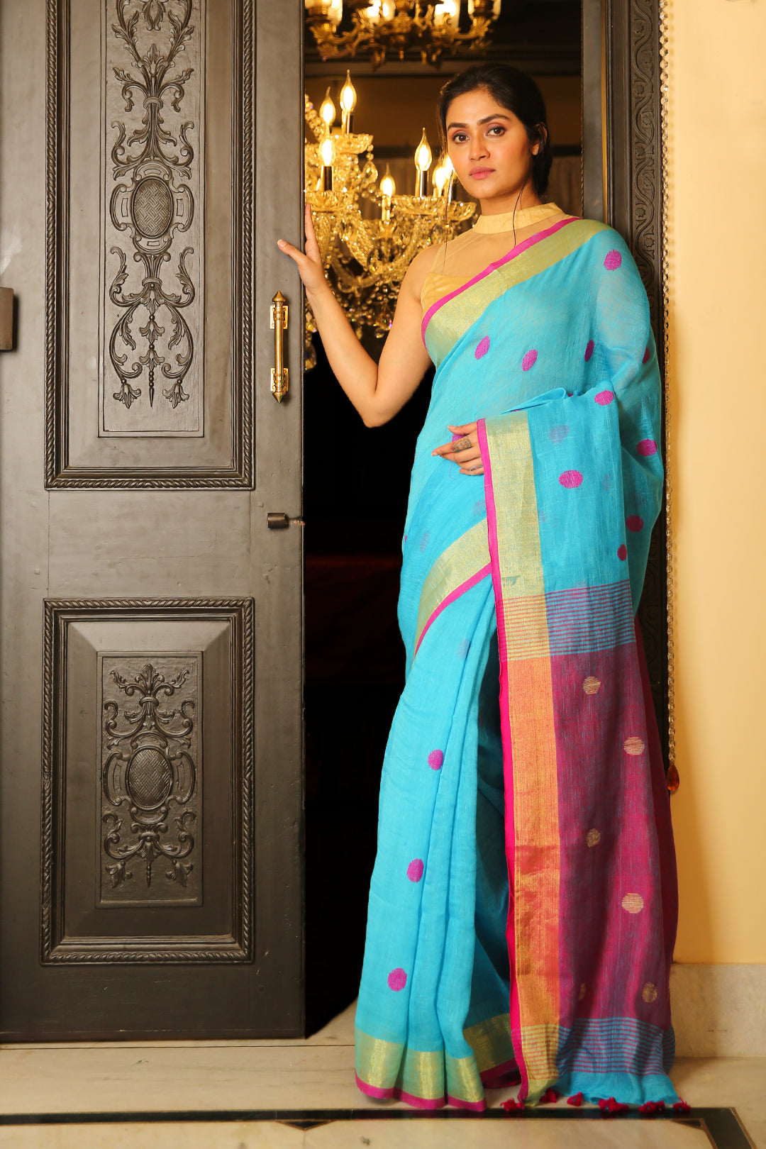 Sky Blue Zari Border Pure Linen Saree