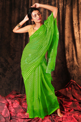 GREEN JAMDANI SAREE WITH ALL OVER ZARI WORK