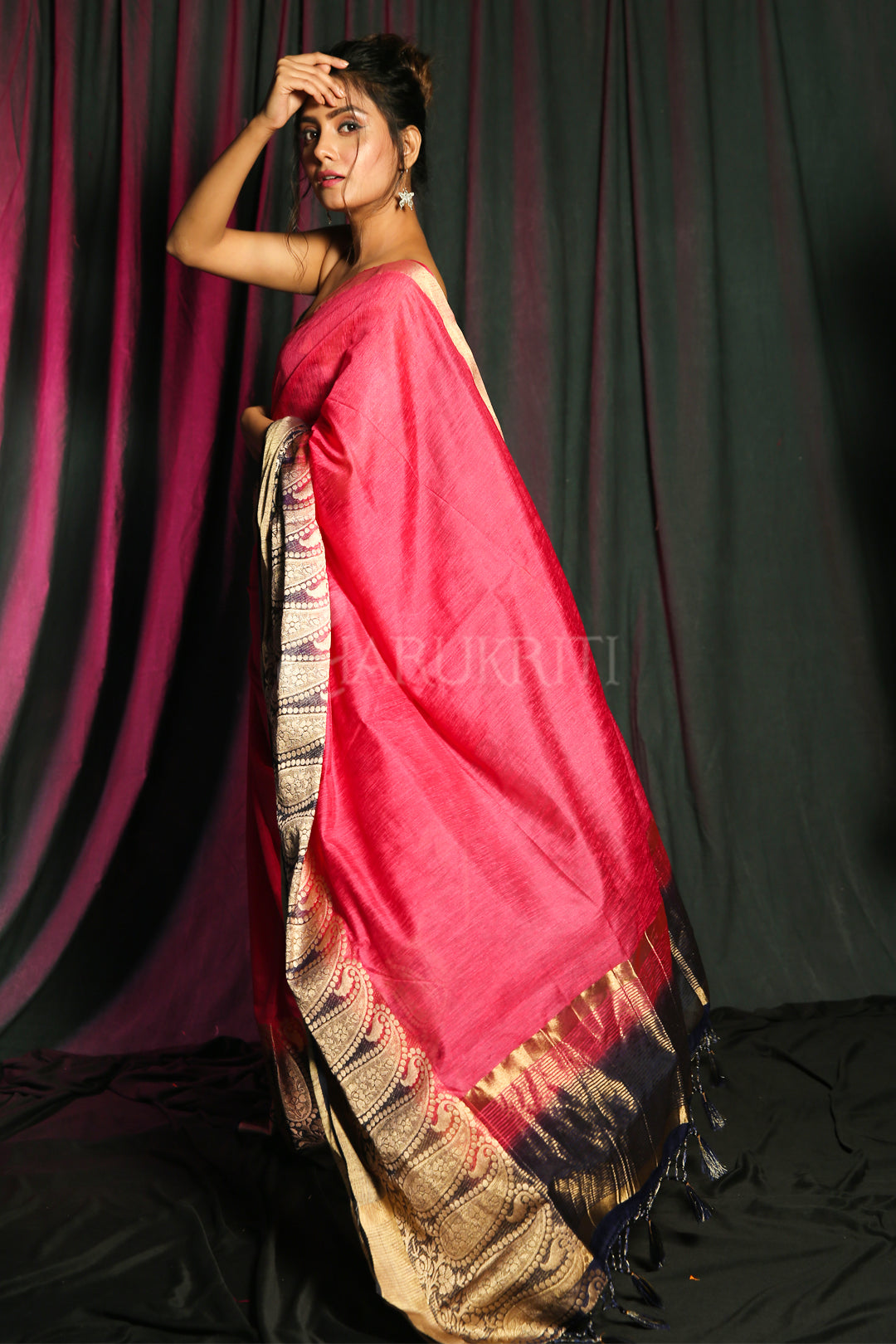 PINK BLENDED SILK SAREE WITH ZARI BORDER AND NAVY PALLU