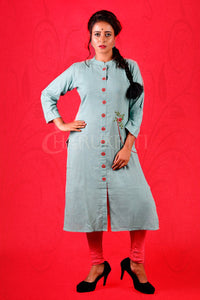 MOSS GREEN RESHAM STONE EMBROIDERED KURTI WITH FRONT POCKET