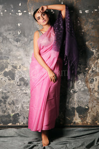 TAFFY PINK BLENDED MUSLIN SAREE WITH PURPLE PALLU