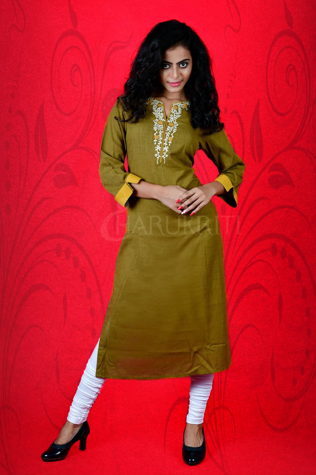 MEHENDI GREEN EMBROIDERED WITH STONE COTTON KURTI
