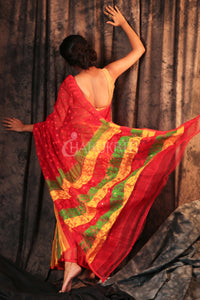 Red Half & Half Jamdani With Multicolour Pallu