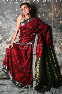 MAROON PURE LINEN SAREE WITH ALL OVER WEAVING WITH ZARI BORDER & PALLU