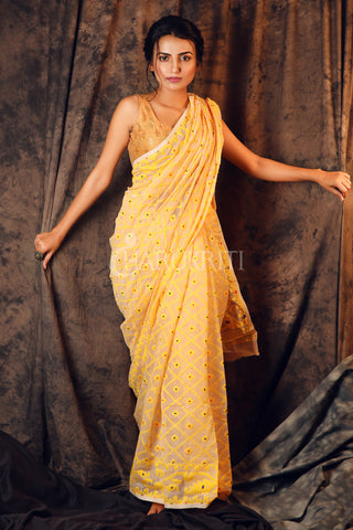 WHITE JAMDANI SAREE WITH YELLOW ALL OVER WEAVING