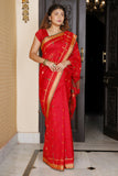 RED BLENDED COTTON SAREE WITH SMALL BUTA AND WEAVED PALLU