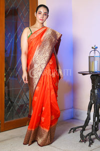 FIERY ORANGE BANARAS SILK SAREE WITH ALLOVER ZARI WEAVING AND MAROON PALLU
