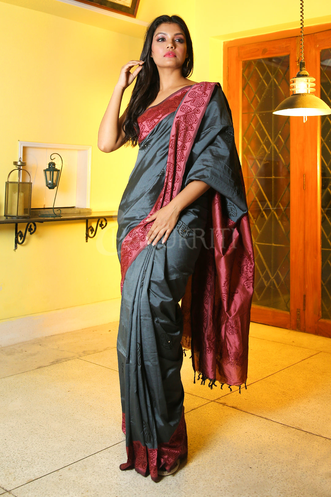 STEEL GREY COTTON SILK SAREE WITH BLOCK PRINT AND PINK PALLU