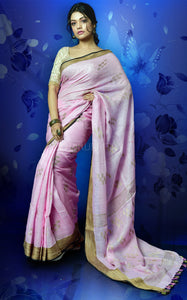 BLUSH PINK KHADI LINEN WITH WEAVING PALLU AND BORDER