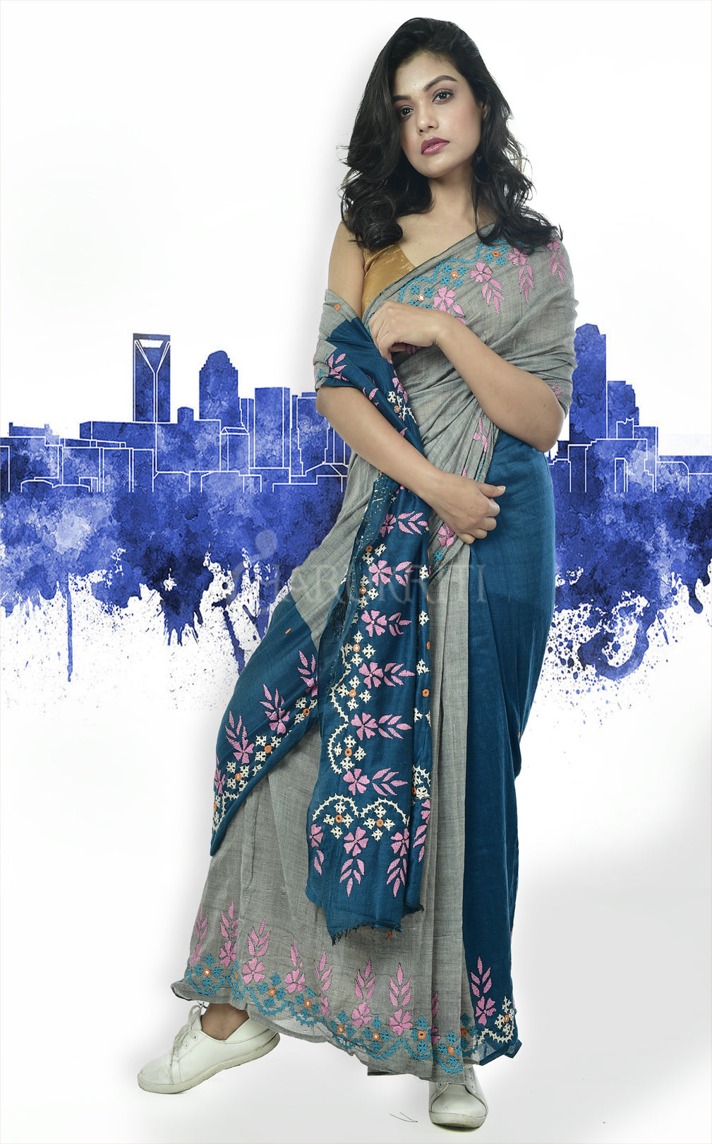 STEEL AND TEAL BLUE COTTON SAREE WITH GUJARATI WORK