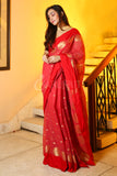 RED HANDLOOM SAREE WITH GOLD POKLA DOT WEAVING AND PLAIN BORDER