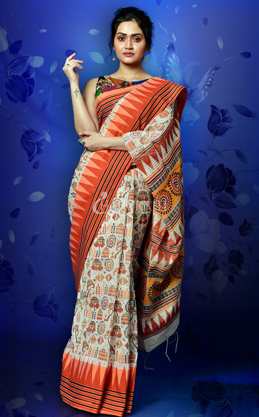 Rust Orange And Off White Ketiya Cotton Saree With Temple Border - Charukriti.co.in