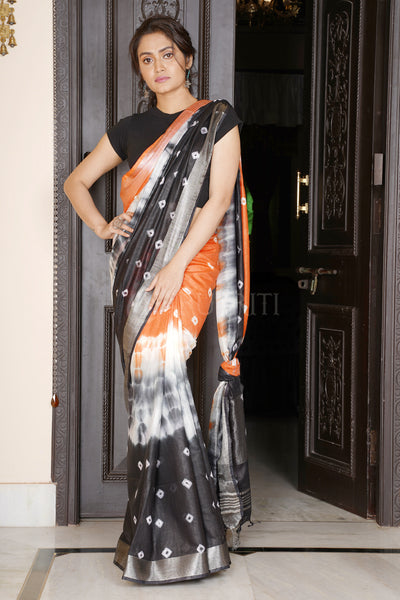 ORANGE AND BLACK TIE & DYE BANDHANI PRINTED LINEN SAREE