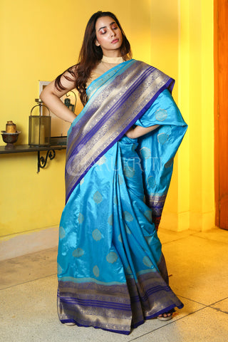 CYAN BLUE MANIPURI KATKI GARDWAL SAREE WITH NAVY BLUE ZARI BORDER AND PALLU
