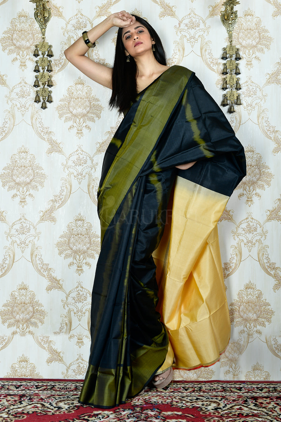 BLACK WEAVED KATAN SILK SAREE WITH BEIGE PALLU