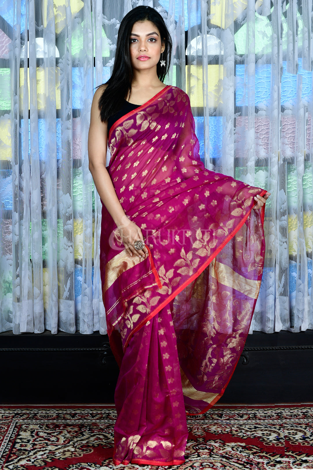 Purple Jamdani With All Over Zari Work - Charukriti.co.in