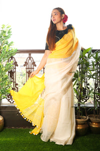 White Pure Linen Saree with Yellow Border