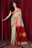 BEIGE PURE COTTON SAREE WITH ALLOVER WEAVE & MAROON PALLU