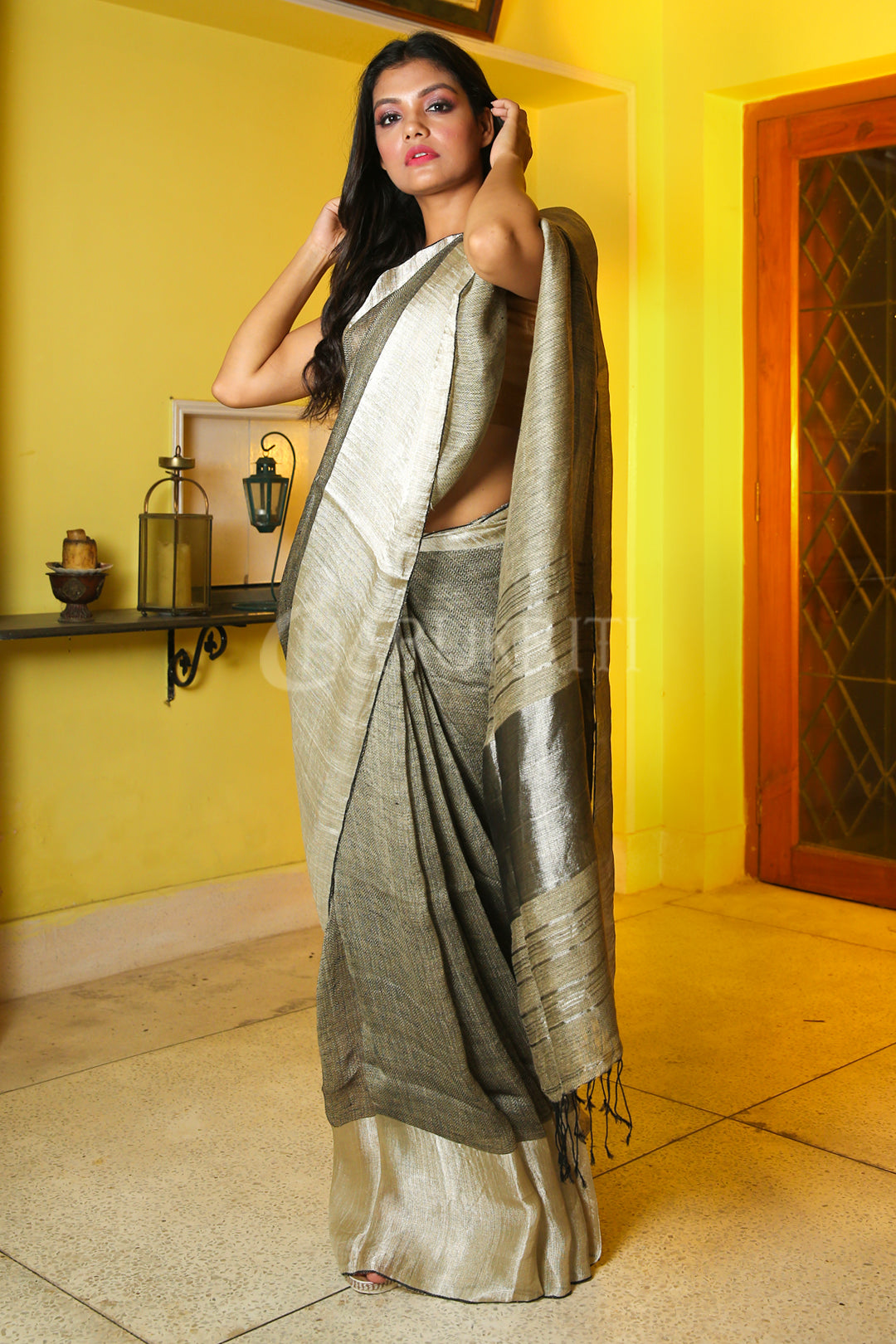 SAGE GREEN PURE LINEN WITH SILVER BORDER AND PALLU