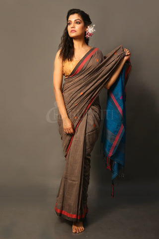 Dual Border Dark Brown Cotton Saree With Dark Blue Pallu